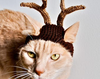 Reindeer Costume for Cats - Hand Knit Cat Hat (READY TO SHIP)