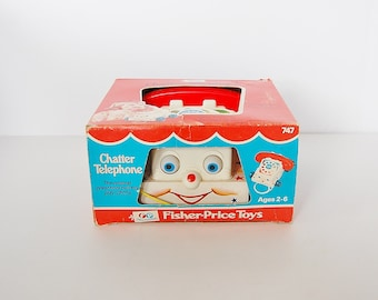 Fisher Price Chatter Telephone Original Box Kitsch 70's Toys