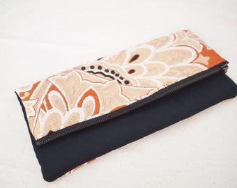 Vintage kimono obi fold over clutch bag purse -floral pattern, orange red, gold,  black