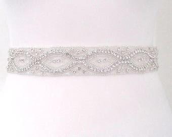 All around rhinestone bridal sash belt, all around wedding dress belt