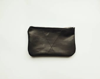 Leather Pouch // Zippered Pouch // Black Leather // Leather Wristlet // Black Wristlet