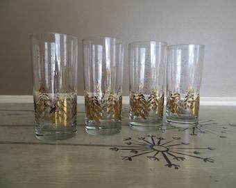 Dansk Golden Pine 16 ounce  Tumbler Mid Century Glassware Gold Trees