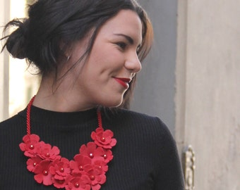 Statement necklace, red flower necklace, colorful necklace, big bold statement jewelry, holiday party necklace,