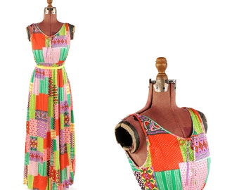 Vintage 1970's Bright Rainbow Funky Novelty Print Patchwork Summer Maxi Hippie Dress M