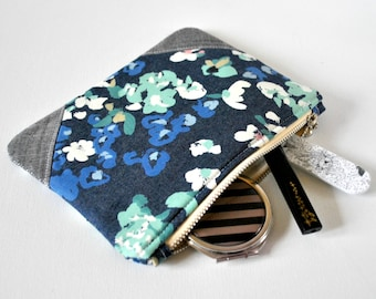 Woman's denim abstract floral print silver glitter linen padded beauty protective white blue aqua linen make up bag cosmetics pouch.