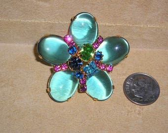 Vintage Pools Of Light Brooch With Rhinestones And Blue Glass Cabochons 1970's Jewelry 2177