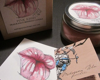 Ready to ship, Pink Kisses Beeswax Candle Gift Set, Limited Edition, Eco-friendly, Art, Aromatherapy