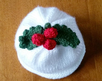 Infant Baby Hat - Holly and Berry Hat Hand Knit - Baby Holly and Berry Beanie - Christmas Costume Hat - Photo Prop - Hand Knit Christmas Hat