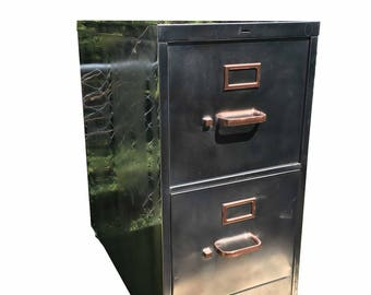 Vintage file cabinet,  metal, brushed and polished steel  cabinet with two drawers and golden hardware and caster wheels made to order