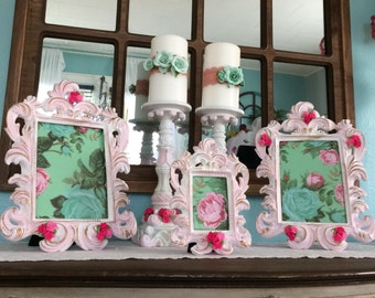 3 piece Shabby chic pink and white distressed picture frames