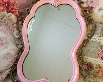 Shabby chic mirror, gloss pink and gold, baby nursery