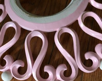A vintage  simple pink ceiling medallion, GOLD highlights, nursery