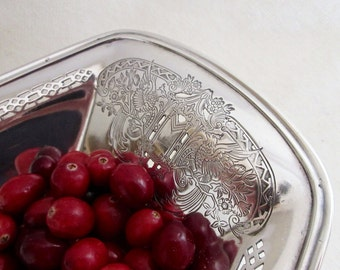 Silver Tray Ornate Cut Out Etching with Birds - Silver Bread Tray