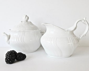 Richard Ginori Vecchio Large Creamer and Large Sugar Bowl - White Porcelain - Made in Italy