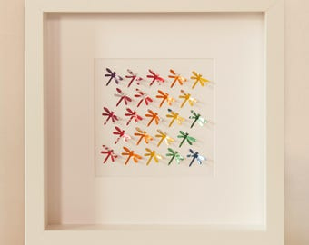 Rainbow Dragonflies Small - Recycled Can Picture, Framed