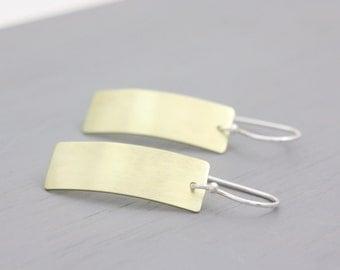 Rectangular Brass Earrings, Long Earrings, Brass Jewellery, Rectangle Earrings, Brass Rectangles, Base Metal Jewellery : BreDmDvx