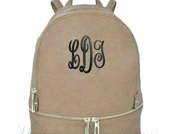 Personalized Taupe Soft Textured Synthetic Leather Backpack Purse FREE Monogram