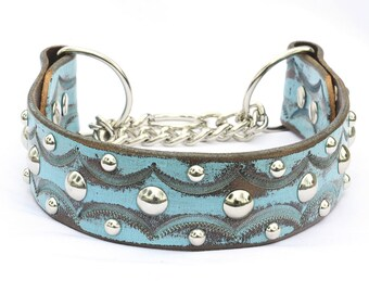 """Martingale Leather Dog Collar, Leather Chain Collar. Turquoise Leather Collar, Training Collar, Size 16 - 18"""""""