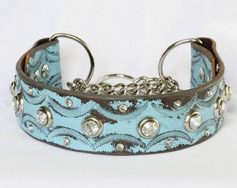 Martingale Leather Dog Collar, Turquoise Martingale Leather Collar, Leather Chain Collar, Training Collar, Sizes Med to Large Dog Collar
