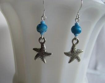 Blue Starfish Earrings, Silver Earrings, Blue Earrings, Starfish Dangles, Simple Earrings