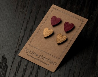 Red and Gold: heart shaped leather earring set, two pair of leather heart stud earrings, handmade leather jewelry