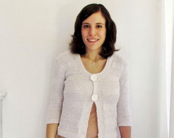 White summer cardigan with 3/4 sleeves and large buttons, handknit, Size S