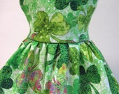 Green Shades of Clover, St. Patrick's Day Sleeveless Dress for Your 18 Inch Doll E