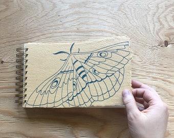 Moth Sketchbook Teal Letterpress Printed on Handmade Mustard Colored Paper
