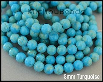 "16"" Strand - 8.5mm Genuine TURQUOISE Gemstone Beads - Turquoise Natural semi precious Round Opaque Gemstone - Instant Ship - USA - 6874"