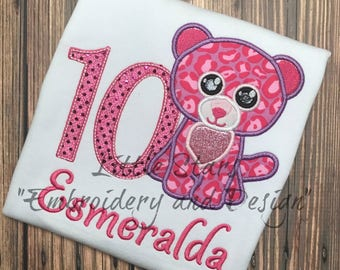 Beanie Boo Pink Leopard Birthday Shirt- Embroidered and Personalized Shirt - You choose Number for Shirt