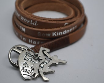 Humanity Freedom Tan Color Leather Wrap Horse Memorial Charm Bracelet Aruna