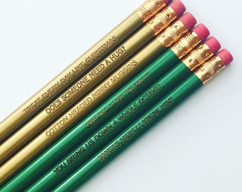 Elf inspired engraved pencil set of six. gold and green pencils for your xmas 365.