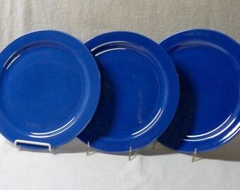 Vernon Kilns Plates Blue Early California Three 9-1/2-Inch Luncheon Plates