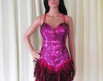 Da NeeNa R72 Sweet Bird Feather Salsa Vegas Dance Drag Dress M