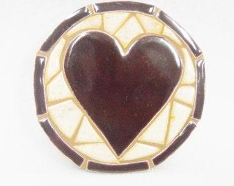 Mosaic Tile Coaster - Wall Plaque Handmade Ceramic Tile Coaster Stoneware Art Deep Purple HEART Felt Backed