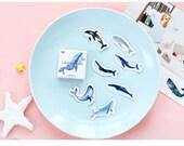 Paper Deco Label Seal Set - Whale - 45 Pcs