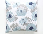"Floral ""Fairy"" Pillow Cover. Navy and Ligth Blue. Pillow Covers. Decorative Pillow. Floral Pillow. Blue Pillow Cover. Navy Pillows."
