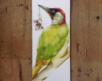 Bookmark with Green woodpecker