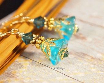 Victorian Style Earrings Vintage Style Pierced or Clip-on Earrings Teal Blue Flower Earrings BoHo Earrings Handmade Earrings CKDesigns.us