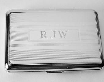 Custom Engraved Business Card Case Personalized Double Sided Linear Design or Kings Cigarette Case  -Hand Engraved