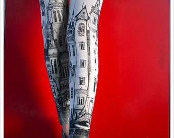 Victorian City Leggings - Womens Off White Legging tights - Legwear - pants - YOGA - ACTIVEWEAR