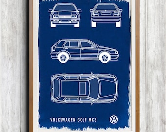 Volkswagen Golf MK3 A4 Hand coated traditionally made cyanotype blueprint