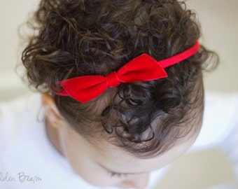 Red Velvet Bow - Emily Red Velvet Bow Headband -  Emily Small Red Velvet Bow Handmade Baby Headband - Baby to Adult Headband