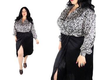 Plus Size Vintage Black & White Silky Dress - Size XL