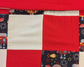 READY TO SHIP- Robot Quilt, Red, Light Blue, Robots, Flannel, Lap Quilt, Toddler, Warm, Crib Size, Baby, Toddler