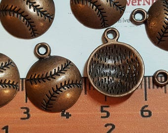 18 pcs per pack 14mm one side Softball Charm Antique Copper Lead free Pewter.
