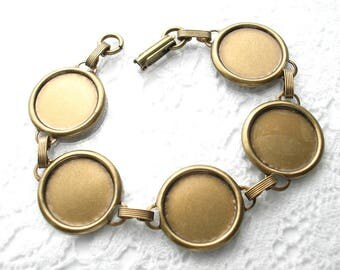 Antiqued Brass Bracelet with 15mm Setting Wells