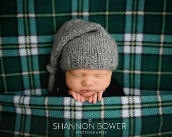 PDF knitting pattern - Newborn photography prop stocking hat #7