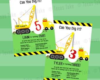 CONSTRUCTION Invitation, Construction Birthday Party Invitation, Print Your Own, Crane Dump Truck Invitation, Printable
