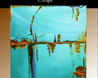 "SALE Original  abstract contemporary gallery canvas  palette knife abstract painting  ""Escape"" by Nicolette Vaughan Horner"